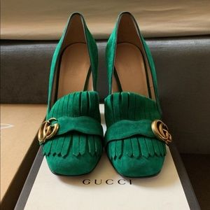 Gucci GG Marmont 2.0 green suede pumps